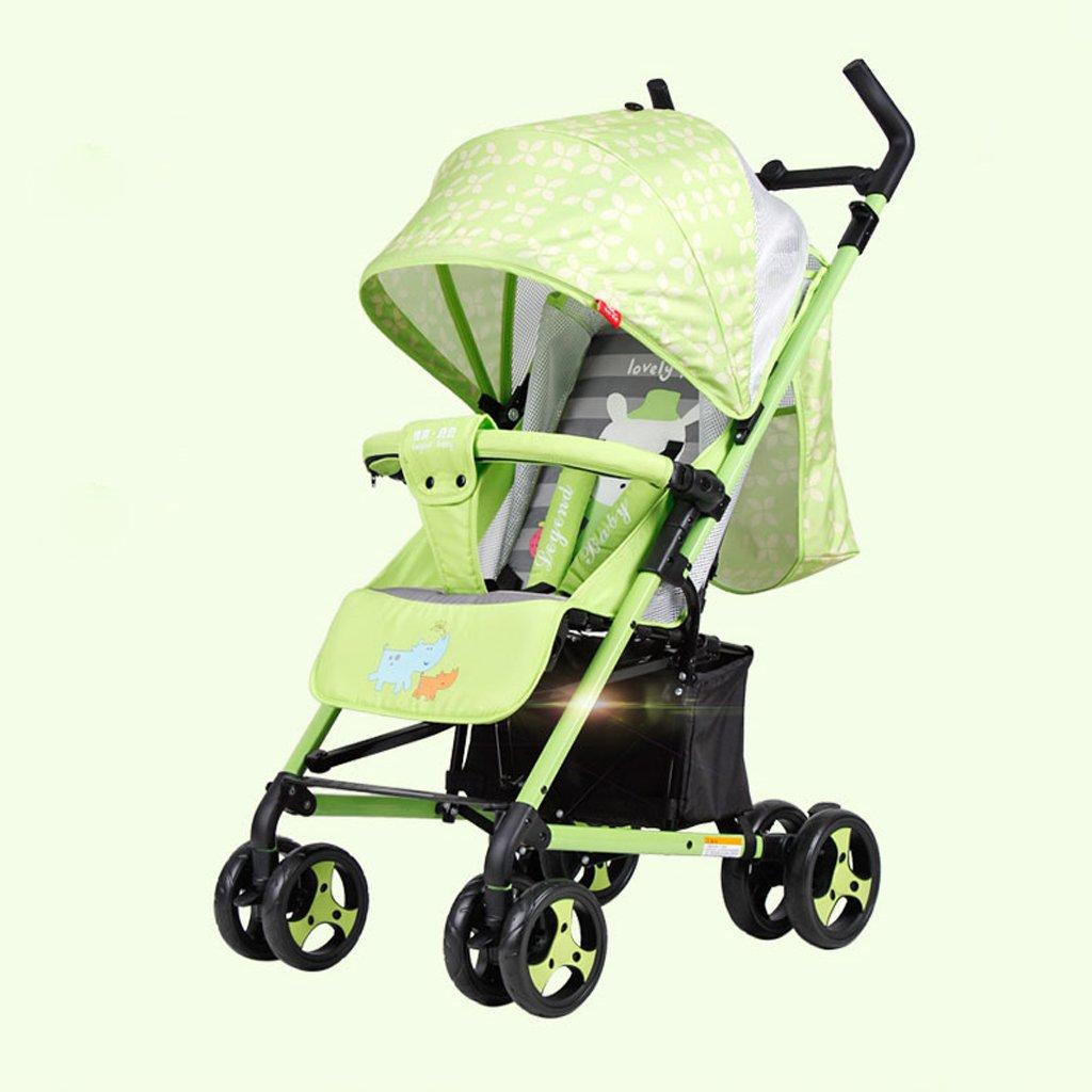赤ちゃんのベビーカー軽量折りたたみポータブル傘はリクライニングチャイルドトロリー(青)(緑)を座らせることができます67 * 51.5 * 110センチメートル ( Color : Green ) B07BV6ZC2C