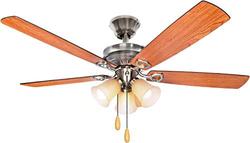 52 Inch LED Indoor Brushed Nickel Ceiling Fan with Light Kit Bulb included , Brown 3 Lights Ceiling Fan with Reversible Blades Pull Chains for Living room, Bedroom, Kitchen, Garage, ETL Listed
