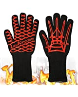LauKingdom BBQ Grilling Cooking Gloves, Iron Throne 932 °F Extreme Heat Resistant Oven Mitts-14'' Long for Extra Forearm Protection (1 Pair)