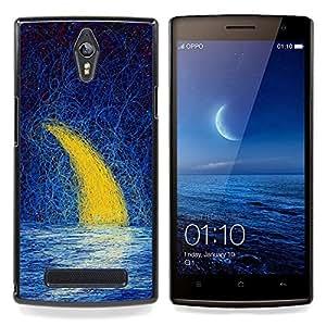 """Qstar Arte & diseño plástico duro Fundas Cover Cubre Hard Case Cover para OPPO Find 7 X9077 X9007 (Luna Creciente pintura al óleo Mar del cielo nocturno"""")"""