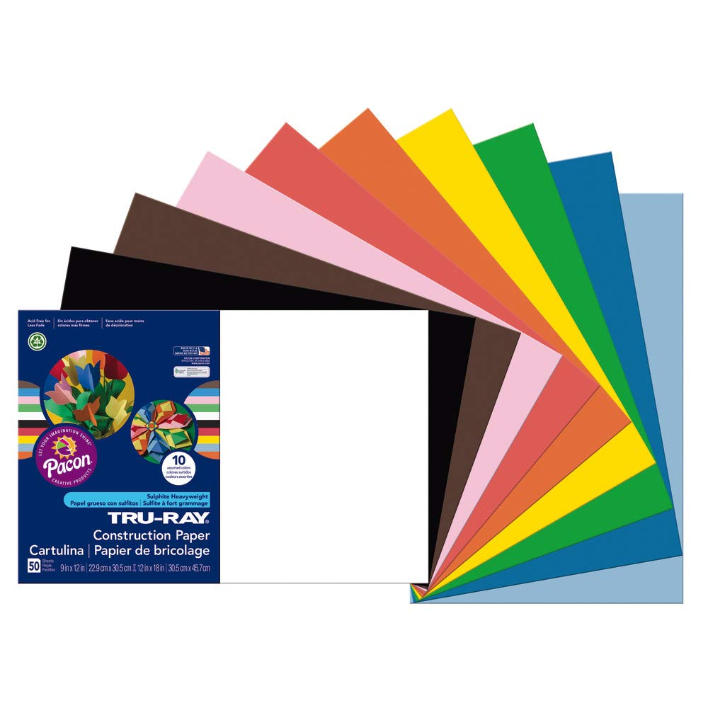 Construction Paper,76 lb.,12'x18',50/PK,Assorted, Sold as 1 Package 12x18 Pacon Corporation PAC103063