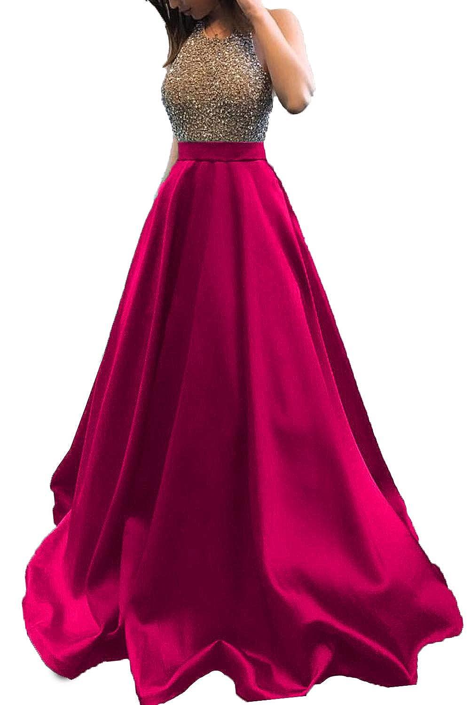 Hot Pink Promworld Women's Rhinestone Halter Neck A line Prom Dress Satin Formal Gown Evening Party Dress