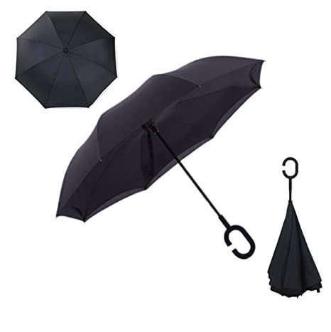 Hogonta Folding Reverse Umbrella Double Layer Inverted Windproof Rain Car Umbrellas For Women Black