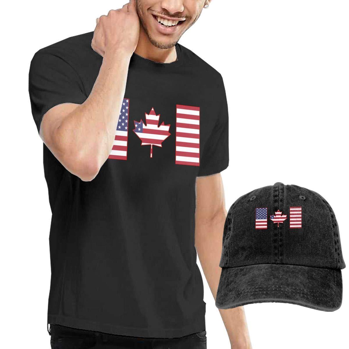 QQWBB Canada Flag Maple T Shirts Short Sleeve Denim Hat Men