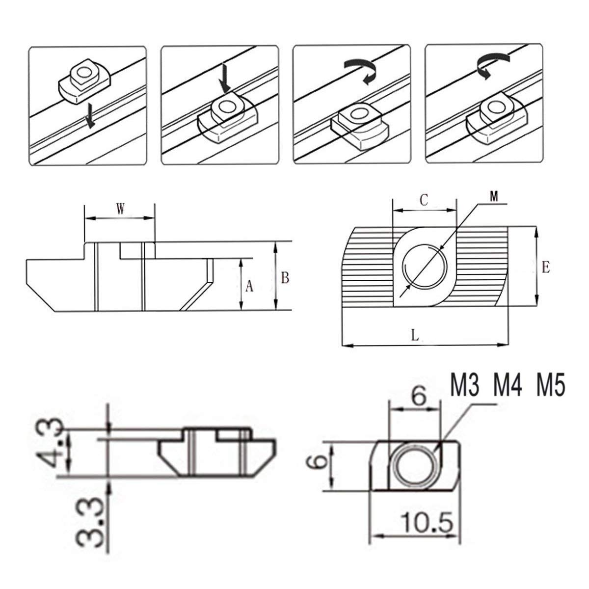 Mengger Tuerca en T Cabeza de martillo ranura hembra Tuercas Carredera 150 Piezas 20 Series M3// M4// M5 Kit Surtido Cierre para Perfil de Aluminio T-tuerca