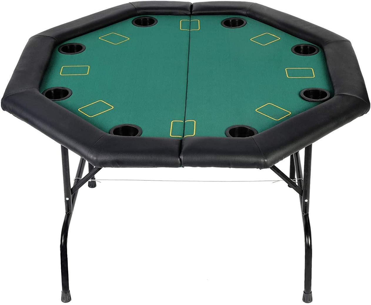 Livebest 48 Octagon Folding Poker Table With Leg 8 10 Player Poker Chips Set Cup Holders Inserts For Luxury Texas Card Game Blackjack Green Speed Felt Cloth 4 Fold 8 Player