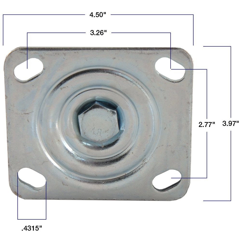 Load Capacity Polyurethane Caster Wheel with Swiveling Top Plate for Use on Hard Surfaces such as Concrete Waxman 4139155 6-Inch 800 lb