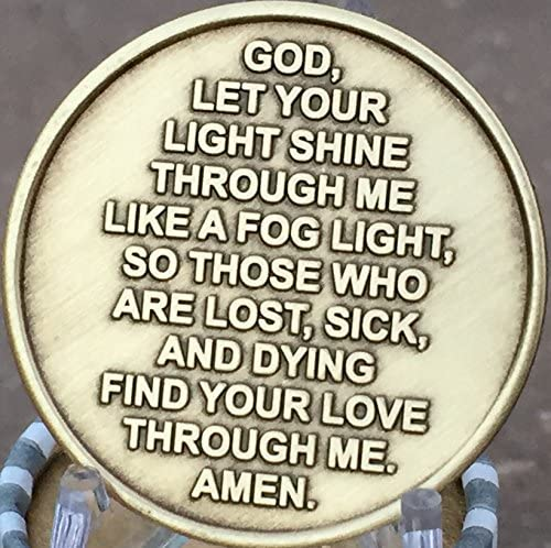 Fog Light Prayer Keychain Lighthouse AA Medallion Bronze Foglight Sobriety Chip