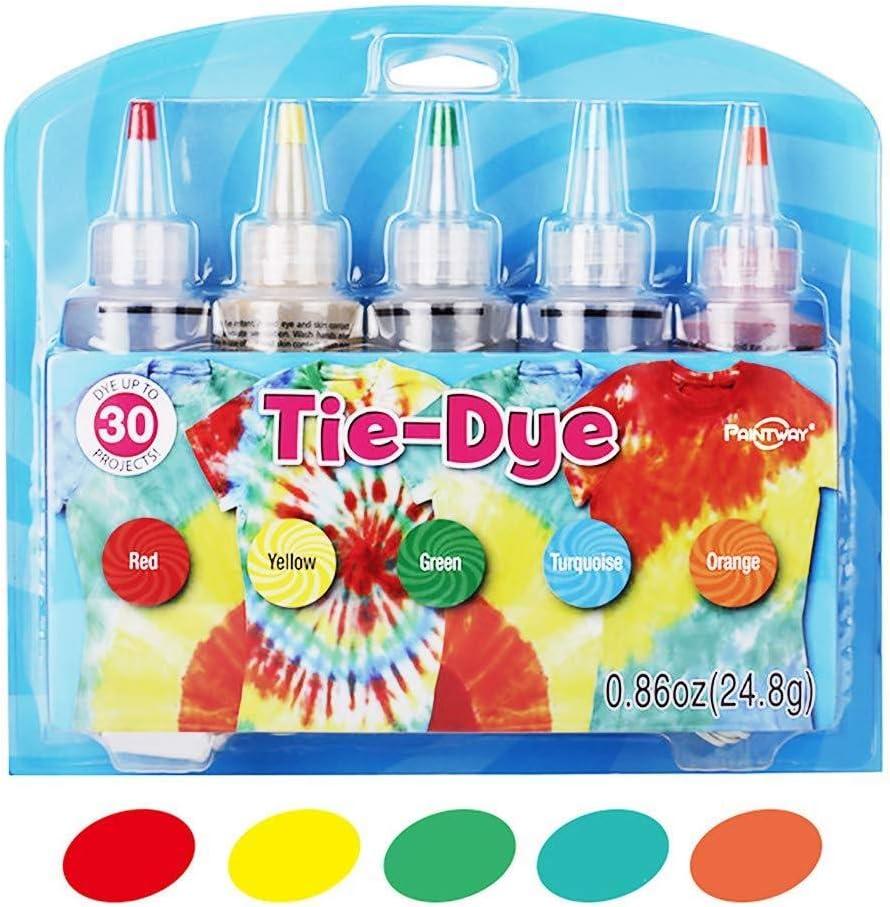 Ganmaov 5 Colores/Set Kit Tie-Dye, Tie-Dye Kit Algodón Lino Ropa Tintes, DIY Kit de Tinte de Moda, Rainbow Color DIY Craft Tools Suministros para ...