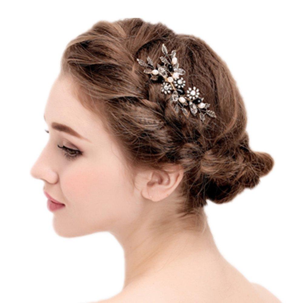 Vintage Black Flower Crystal Pearl Side Combs Bridal Headpiece Wedding Hair Accessories by MEiySH (Image #2)