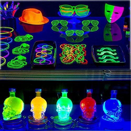 UV LED Black Light Fixtures, Leciel 6W Portable Blacklight Lamp for Halloween and Blacklight Parties, UV Poster, UV Art, Ultraviolet Curing, or Stain Detector