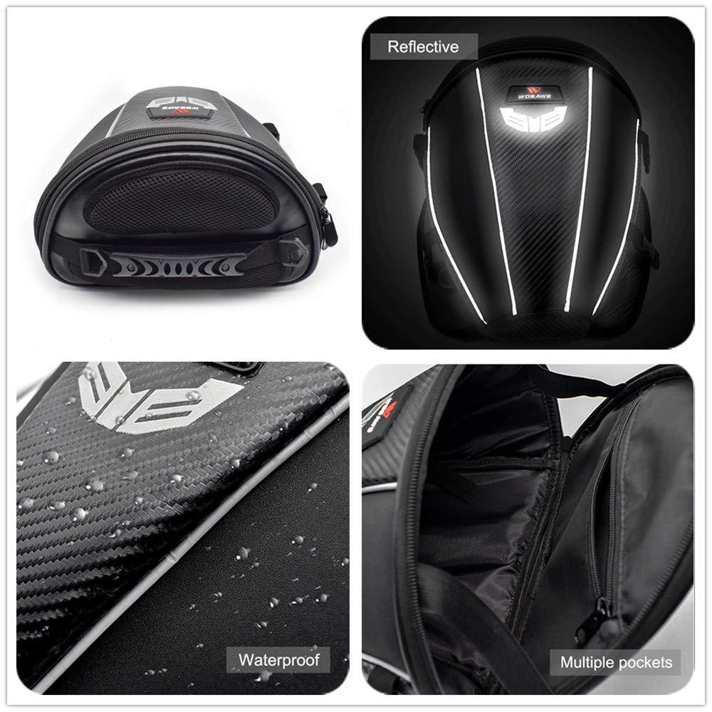 Mochila de Almacenamiento WOSAWE Bolsa Impermeable de Viaje para Asiento de Moto Trasero 15 litros multifunci/ón Piel sint/ética