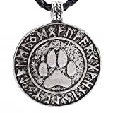 Owill Unisex Nordic Vikings Print Bear Amulet Necklace Pendant/Silver Plated Makes It More Special