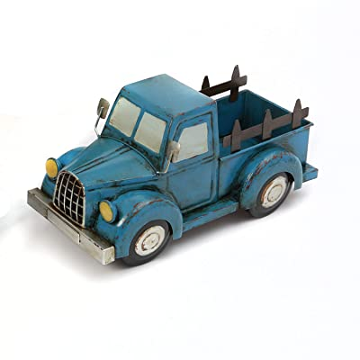 One Holiday Way Antique Metal Truck Flower Planter Container - Tabletop Spring Decoration (Blue): Home & Kitchen