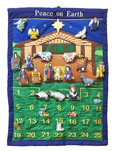 Pockets of Learning Peace on Earth Nativity Manger Advent Calendar, Holiday Décor, Seasonal Fabric Wall Hanging, Cloth Countdown Barn Scene Wall Calendar