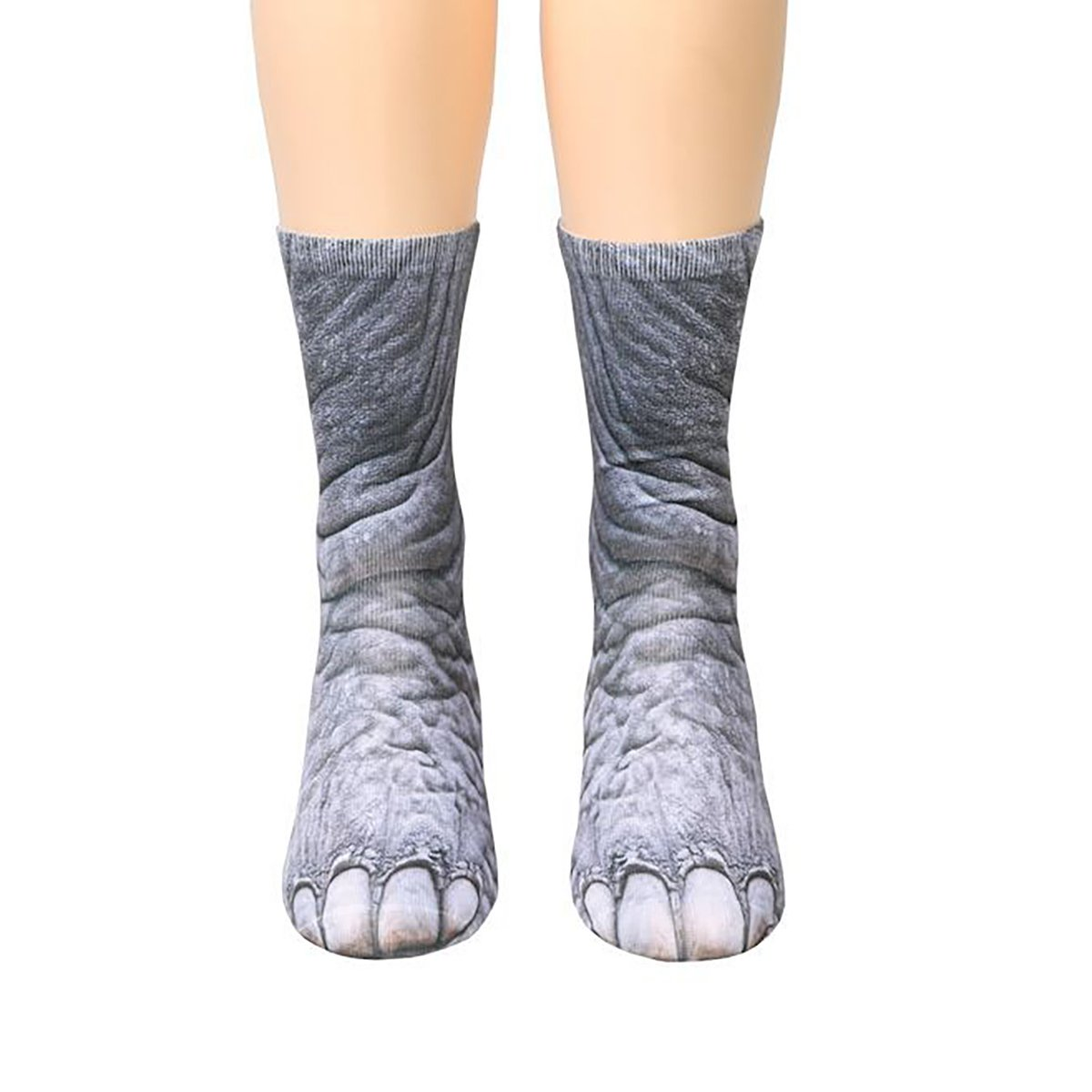 YF Unisex Adult Animal Foot Print Simulation Tube Stockings 3D Paw Pattern Crew Socks Yin Feng 0AF0SA1S3L