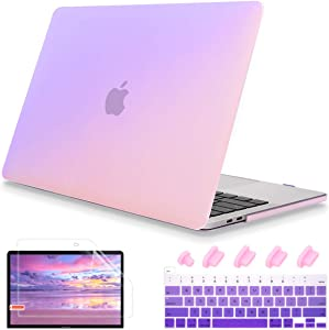 May Chen for MacBook Pro 13 Inch Case 2020 Release Model A2289 A2251, Girl Love Plastic Hard Shell Case Cover +Gradient Keyboard Cover+Screen Protector for MacBook Pro 13 Touch Bar, Gradient Purple
