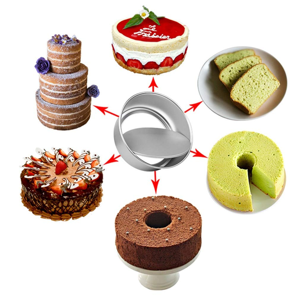 Gano Zen 1pc Round Aluminum Alloy 2/4/5/6/8/10 Cake Moulds - with Removable Bottom Anode Surface Baking Dish Cake - Decoration Mould
