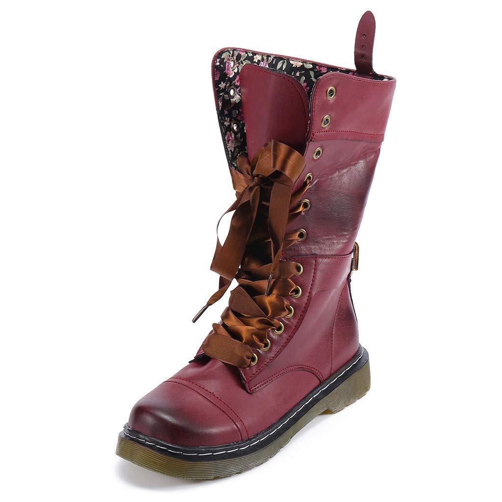 Tianwlio Frauen Herbst Winter Stiefel Schuhe Stiefeletten Boots Damen Retro Schuh mit Niedrigem Absatz aus Leder Rutschfeste Runde Spitze mit