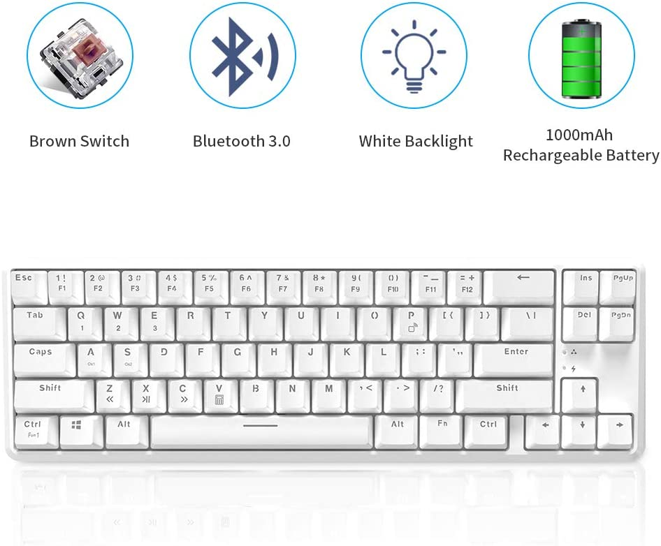 NACODEX K680T 60% Wireless/Wired Mechanical Keyboard - Compact 68 Keys 1000mAh Rechargeable Gaming/Office Keyboard Multi-Device for iOS Android Windows and Mac (Brown Switch White Backlit White)