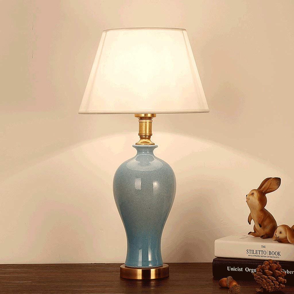 Keramik Tischlampe American Keramik Tischlampe Grün Kupfer Lampe Einfache Wohnzimmer Studie Hotel Schreibtischlampe Leselampe Kunst Licht A+