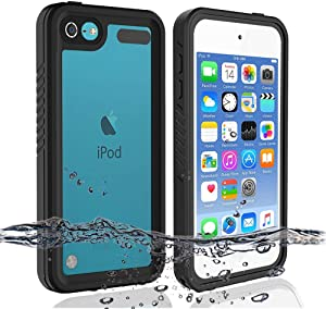 iPod 5 iPod 6 iPod 7 Waterproof Case, Re-Sport Shockproof Dustproof Snowproof Full-Body Protective Case Cover Built-in Screen Protector Compatible iPod Touch 5th/6th/7th - Black