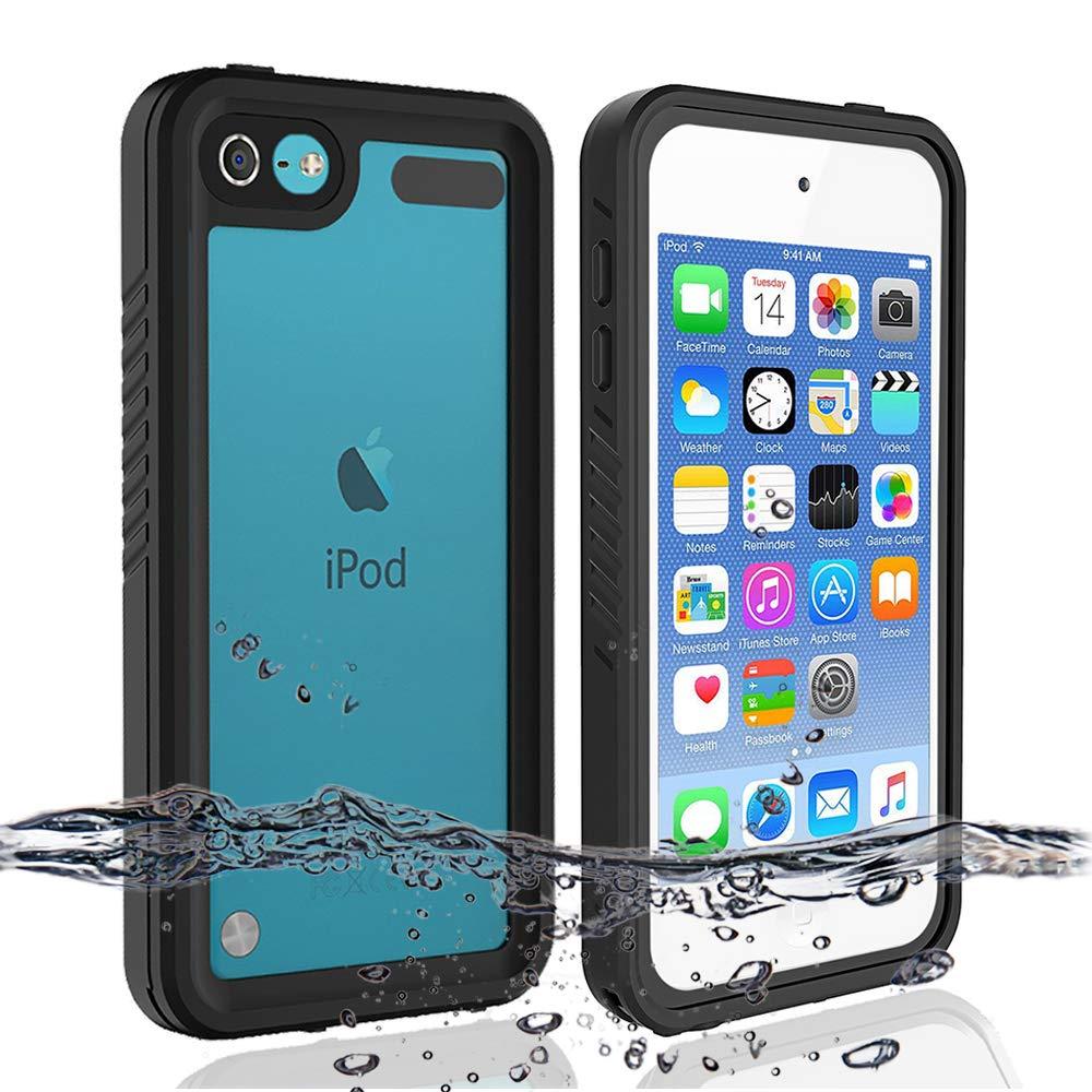 iPod 5 iPod 6 防水ケース 再スポーツ 耐衝撃 防塵 防雪 フルボディ保護ケースカバー 内蔵スクリーンプロテクター iPod Touch 第5/6世代対応 ブラック   B07Q2QYS2V