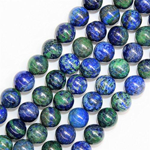 Lynxus 2mm Large Hole Azurite Chrysocolla Gemstone Loose Beads 12mm 32 Beads Per 15.5