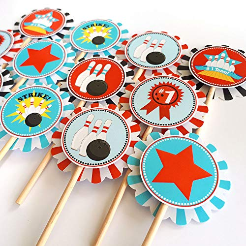 Boy Bowling Cupcake Toppers - Kid Birthday Entertainment Sport Party Cake Supplies - Set of 12 ()