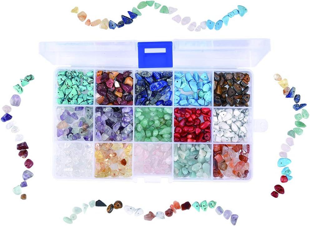 Cizen - Cuentas de piedras preciosas, 15 colores de piedras mixtas irregulares, cuentas de piedras de colores para creación de joyas, bricolaje, 6-8 mm