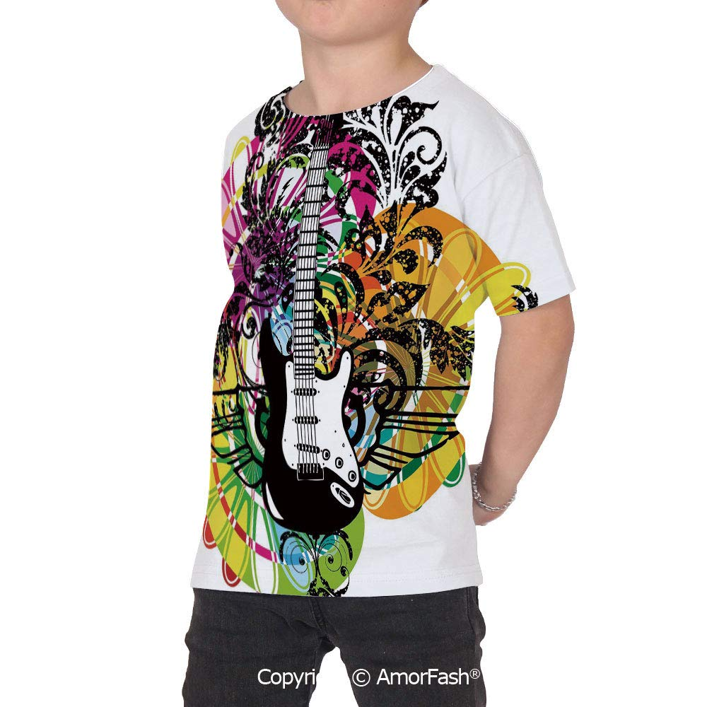 PUTIEN Popstar Party Boys and Girls All Over Print T-Shirt,Crew Neck T-Shirt,Abstract F
