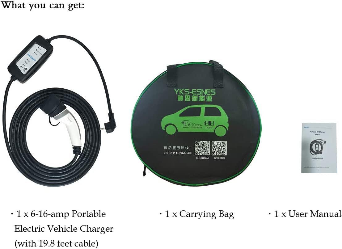 240 Volt, 19.8 Feet Cable, 6-16 Amp Electric Vehicle Charger Plug-in EV Charging Station with Schuko Plug Level 2 Portable EV Charger