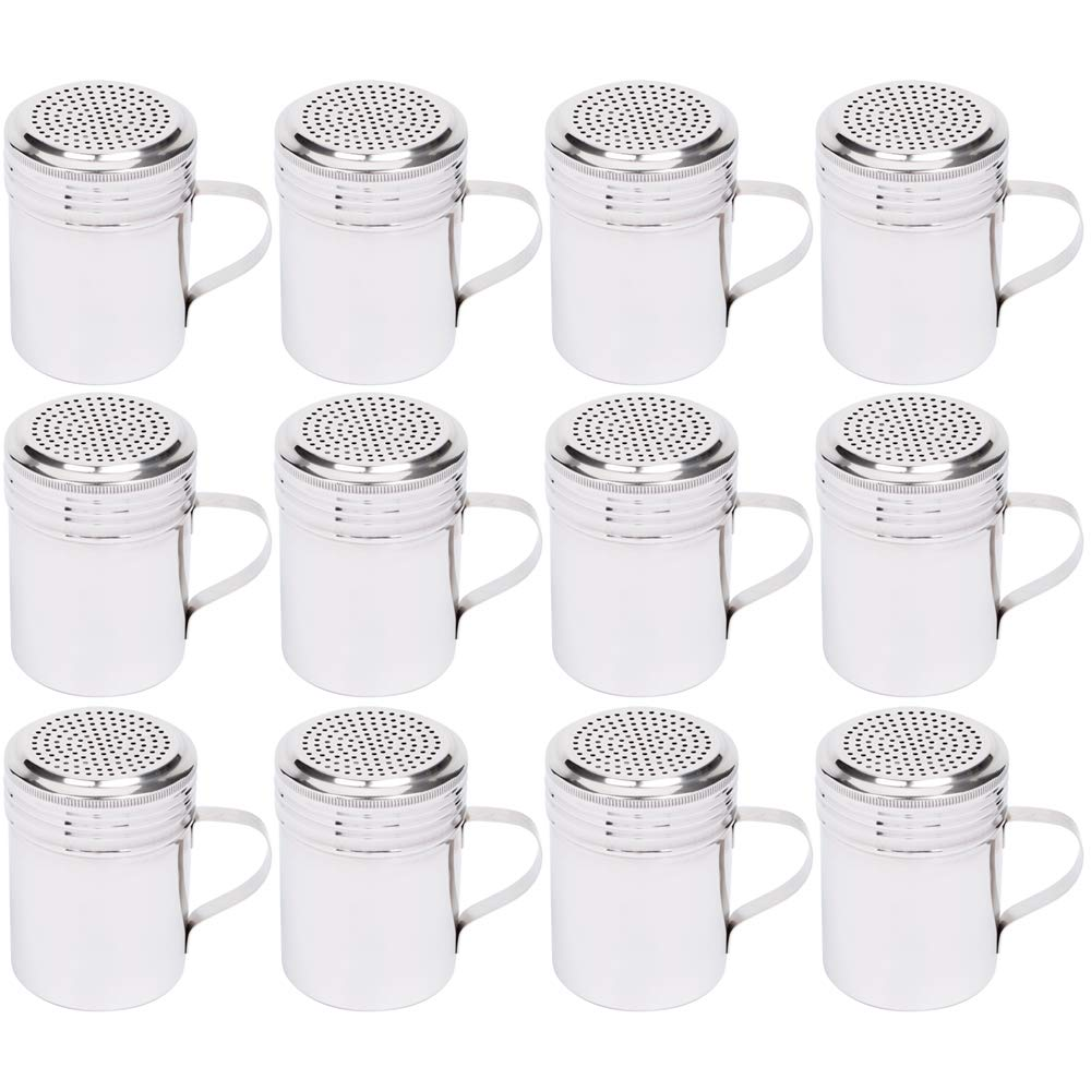 (Set of 12) 10 Oz Stainless Steel Dredge Shaker with Handle, Spice Dispenser for Cooking/Baking by Tezzorio