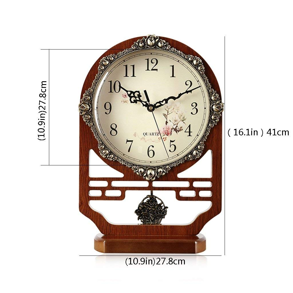 Amazon.com : Family Fireplace Clocks Clock Desk Clock, Silent Wood Without Ticking Decoration ó N for Living Room Bedside Table Clock Suitable for Living ...