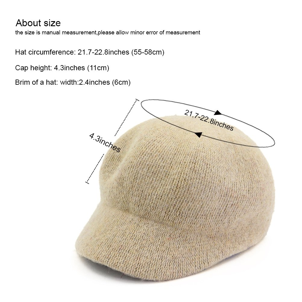 Zhhlinyuan Autumn Winter Felt Dome newsboy Cap Women Solid Color Beret Beanies Hat