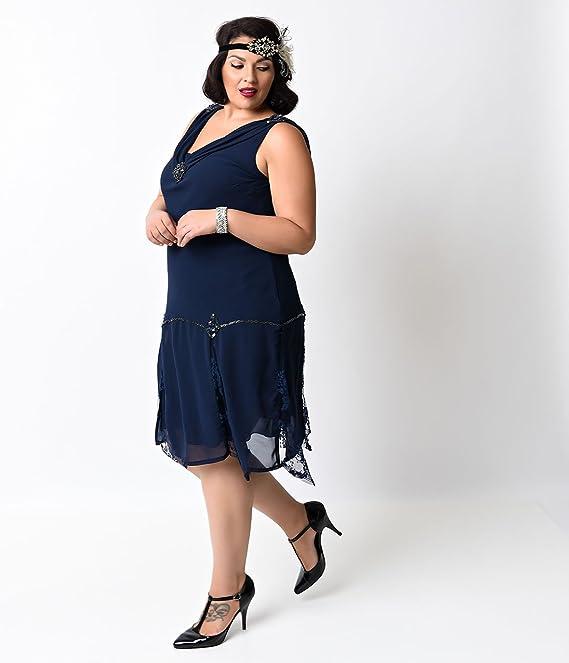 733ebe4f6ee Unique Vintage Plus Size Navy Hemingway Flapper Dress at Amazon Women s  Clothing store