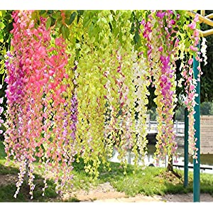 12 Pieces Artificial Silk Wisteria Vine Ratta Silk Flowers for Wedding/Garden Floral Decoration-3.6 Feet 61