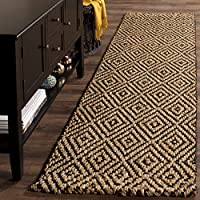 Safavieh Natural Fiber Collection NF181C Hand-Woven Natural and Black Jute Runner (23 x 16)