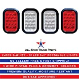 5x3'' 2x Red 2xWhite Rectangle 12 LED Stop/Turn/Tail & Backup/Reverse Truck Trailer Hitch Light Grommet Wire Kit