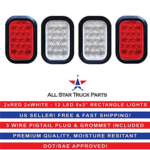 5×3″ 2x Red 2xWhite Rectangle 12 LED Stop/Turn/Tail & Backup/Reverse Truck Trailer Hitch Light Grommet Wire Kit
