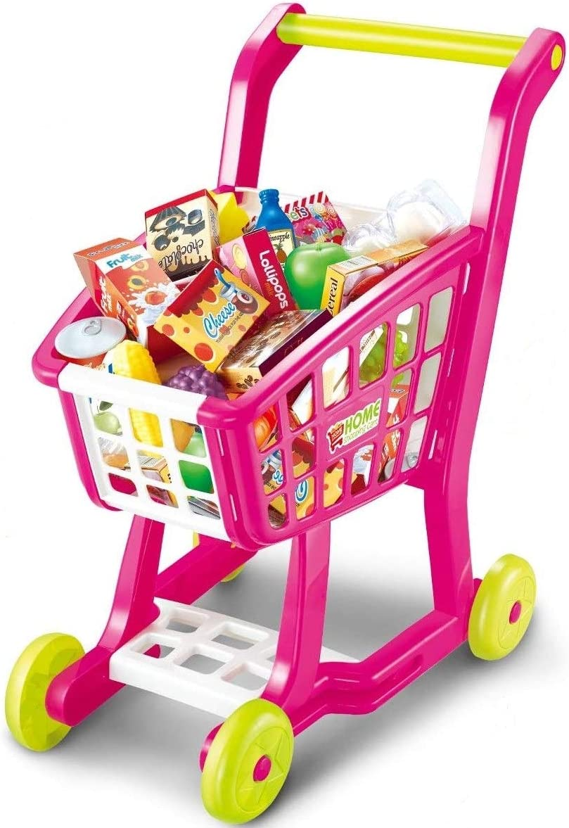 Toyzabo Toy Shopping Cart Pretend Shopping Cart for Kids Toy Shopping Cart for Toddlers Baby Shopping Cart Toy Pretend Grocery Cart Child Shopping Cart Great Gift for Christmas, Birthdays, Holidays