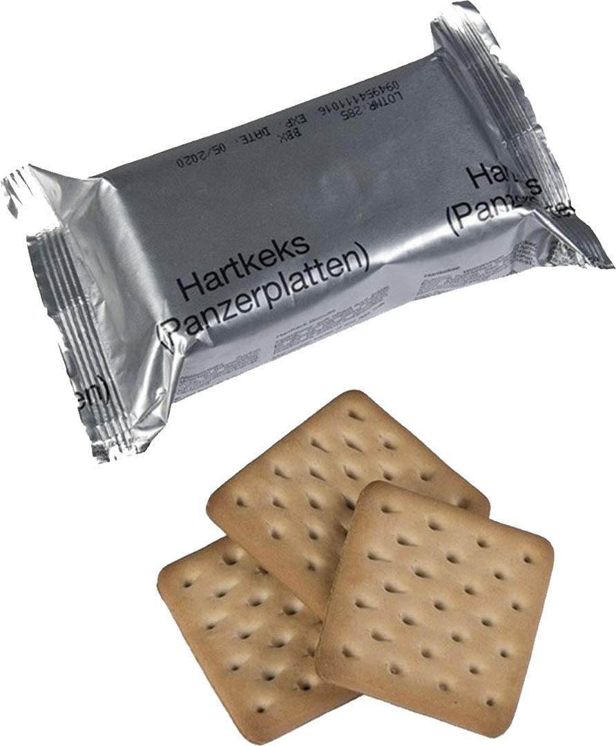 x4 Genuine German Army Survival Food Pack Outdoor Hardtack Biscuits 125 grams NATO MRE Crackers 4 Packs