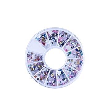 Burfly - Pendientes de uñas decorativos con purpurina, diseño de gotas de agua, perlas