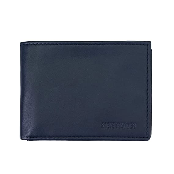 f0ce10dfea Steve Madden Men's Leather RFID Blocking Wallet with Extra Capacity ID  Window, Navy One Size: Amazon.ca: Clothing & Accessories