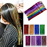 """Amesun 35"""" Hair Tinsel 1200 Strands With Hook Eight Colors (Sparkling Blue flame, Sparkling Blue Sea, Sparkling Green Emerald, Sparkling Pink Fuchsia, Sparkling Purple Orchid, Sparkling Red Fire, Sparkling Mix) …"""