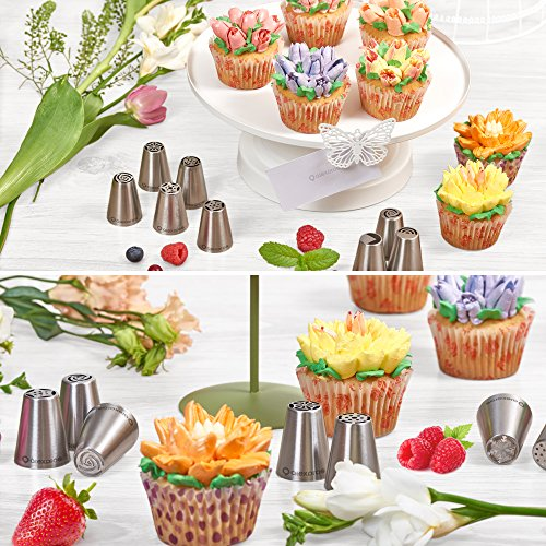 Russian Piping Tips - 50 Piece Cake & Cupcake Decorating Nozzle Set   24 Piping Tips + Silicone Bag & 20 Disposable Bags + Leaf tip + 3 Couplers + Cleaning Brush + Instruction - Perfect Kitchen Gift