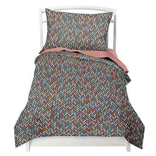 Twin Multicolor Herringbone (gray,blue,white, coral,gold) Duvet Cover Set with 1 Pillowcase for Kids Bedding - Double Brushed Microfiber by Where The Polka Dots Roam (68