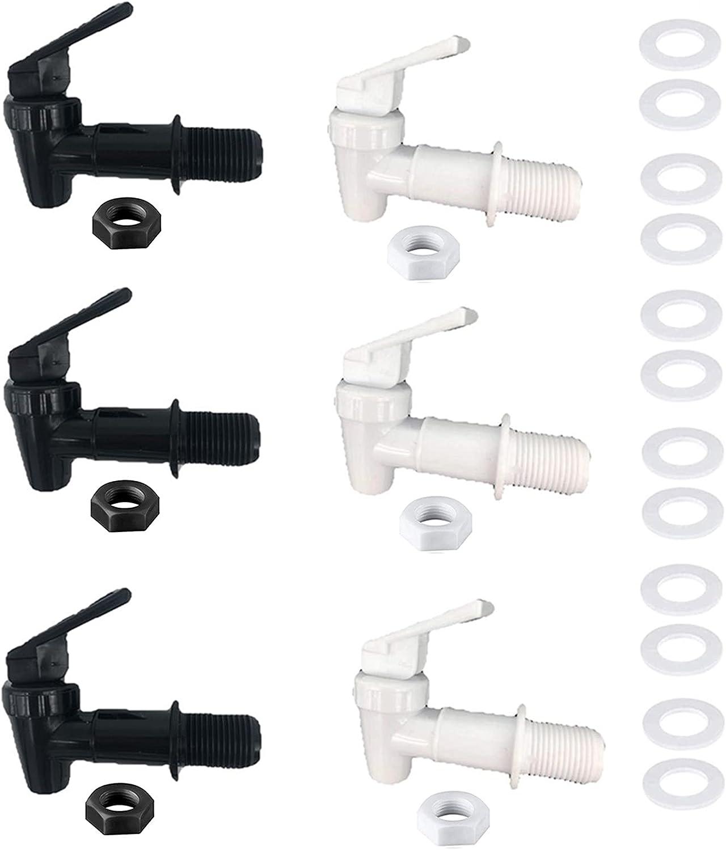 BPA-Free Replacement Cooler Faucet Water Bottle Jug, 6 Sets Water Dispenser Tap Set, Reusable Spigot Spout Water Beverage Lever Pour Dispenser Valve Water Crock Tap(3 White and 3 Black)…