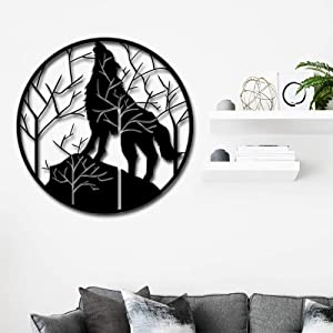 Artmyharbor Wolf Metal Wall Art Tree Mountain Wall Hanging Contemporary Metal Artwork Sculpture Rustic Cabin Decorations Home Office Wall Decor