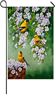 Birds Wildlife Goldfinches Apple Blossoms 28x40 Inch Garden Flag House Flag - Double Sided Decorative Outdoor Flag